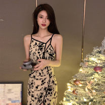 Dress Spring 2021 Picture color S. M, l, XL, recommend collection and shopping cart, give small gifts! longuette singleton  Sleeveless commute V-neck High waist Decor Socket A-line skirt routine camisole 18-24 years old Type A Retro printing More than 95% Chiffon polyester fiber