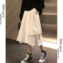 skirt Spring 2020 S M L XL White black Mid length dress Versatile High waist A-line skirt Solid color 18-24 years old More than 95% Manyashi other Asymmetry Other 100% Pure e-commerce (online only)
