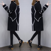 woolen coat Spring 2020 S,M,L,XL,2XL,3XL black polyester fiber 91% (including) - 95% (excluding) Medium length Long sleeves street A button routine other stripe Straight cylinder Other / other Europe and America