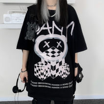 T-shirt Black and white M L XL Spring 2021 Short sleeve Crew neck easy Medium length routine commute polyester fiber 51% (inclusive) - 70% (inclusive) 18-24 years old Korean version originality Cartoon animal pattern geometric pattern alphanumeric Han Xuan M88807&) Asymmetric printed crew neck