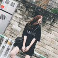 Dress Spring 2020 Black and white M L XL XXL Middle-skirt singleton  Short sleeve commute Crew neck middle-waisted Solid color other routine Others 18-24 years old Type H Han Xuan Korean version Embroidery 91% (inclusive) - 95% (inclusive) other cotton Pure e-commerce (online only)