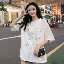 T-shirt White black M L XL XXL Summer 2020 elbow sleeve Crew neck easy Regular routine commute cotton 86% (inclusive) -95% (inclusive) 18-24 years old Korean version originality Cartoon geometric pattern letter flowers Han Xuan Sequin three dimensional decoration Pure e-commerce (online only)