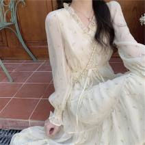 Dress Spring 2021 Apricot dress S M L XL XXL XXXL longuette singleton  Long sleeves commute V-neck High waist Solid color Socket A-line skirt routine Others 18-24 years old Type A Han Xuan Korean version Bow, ruffle, fringe, lace up, button, gauze net, lace swallow tail LP688 other
