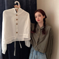 T-shirt White green M L XL XXL Autumn 2020 Long sleeves Polo collar Straight cylinder Regular routine commute cotton 86% (inclusive) -95% (inclusive) 18-24 years old Korean version classic Solid color Han Xuan YYG7703 Cotton 93.1% polyurethane elastic fiber (spandex) 6.9%