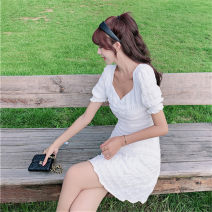 Dress Summer 2021 White (short) white (long) S M L XL Short skirt singleton  Short sleeve commute V-neck middle-waisted Solid color Socket puff sleeve Others 18-24 years old Type A Han Xuan Korean version Fringes, pleats and waves 51% (inclusive) - 70% (inclusive) Chiffon cotton