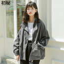 short coat Winter of 2019 S M L Grey apricot Long sleeves routine routine singleton  Straight cylinder routine stand collar zipper Solid color 18-24 years old Kmiocmiin 96% and above Pocket button zipper polyester fiber Polyester 100% Exclusive payment of tmall