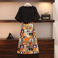 skirt Summer 2020 M,L,XL,2XL,3XL,4XL Black, black skirt Short skirt Versatile Natural waist A-line skirt Solid color Type A 20-7-22-1