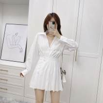 Dress Spring 2021 white XS,S,M,L Short skirt singleton  Long sleeves Sweet High waist Solid color Socket A-line skirt Type A princess