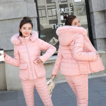 Cotton padded clothes Dark blue, pink, black, white, water blue M,L,XL,2XL Winter of 2018 Other / other have cash less than that is registered in the accounts Long sleeves thickening zipper commute routine Self cultivation Solid color Korean version With fur collar, pocket, zipper