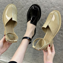 Sandals 35 36 37 38 39 Black apricot PU Youaisha Round head Thick heel Middle heel (3-5cm) Summer 2021 Flat buckle leisure time Solid color Adhesive shoes Youth (18-40 years old) rubber daily Bag heel Thick heel Low Gang Hollow PU PU Flat buckle Patent leather Pure e-commerce (online only) Women's