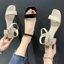 Sandals 35 36 37 38 39 40 BEIGE BLACK PU Youaisha Barefoot Thick heel Middle heel (3-5cm) Summer 2021 Flat buckle leisure time Solid color Adhesive shoes Youth (18-40 years old) rubber daily Back space Thick heel Low Gang Hollow PU PU qeqw653e21qwe4865qw132e5641 Flat buckle Shaving Women's