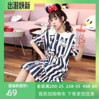 Nightdress According to legend Orange, Baolan, lotus root powder, fruit green, turmeric One size entity (suitable for 90-145 kg), collection + additional purchase + group chat (give exquisite gifts) Cartoon Short sleeve Leisure home Middle-skirt summer Cartoon animation youth Crew neck cotton lace
