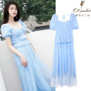 Dress Summer 2021 wathet S   high quality goddess essential, m   7 days no reason to return, l   Buyer show cash back 10 yuan longuette singleton  Short sleeve commute Fur collar middle-waisted Solid color zipper Pleated skirt puff sleeve Others 25-29 years old Zoelli MIDIE Chiffon other