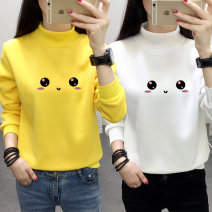 T-shirt 6064 white 6064 pink 6064 purple 6064 black 6064 yellow 6064 green M L XL 2XL Winter of 2019 Long sleeves Half high collar easy Regular routine commute polyester fiber 86% (inclusive) -95% (inclusive) 18-24 years old Korean version originality Cartoon animation Shusha 6064.#. printing