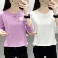 T-shirt 0025 white 0025 pink 0025 purple 0025 yellow 0025 green 0025 black M L XL 2XL 3XL 4XL Spring 2020 Long sleeves Crew neck easy Regular routine commute polyester fiber 86% (inclusive) -95% (inclusive) 18-24 years old Korean version originality Letters for plants and flowers Shusha 0025#
