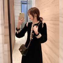 Dress Spring 2021 black S M L XL Mid length dress singleton  Long sleeves commute stand collar Loose waist Solid color Socket other routine Others 18-24 years old Type A Dorothy Korean version Lace stitching ge87g8 More than 95% other Other 100% Pure e-commerce (online only)