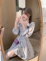 Dress Spring 2021 Purple Floral Skirt S M L XL Short skirt singleton  Long sleeves commute square neck High waist Decor Socket A-line skirt routine Others 18-24 years old Type H Dorothy Korean version printing More than 95% other Other 100% Pure e-commerce (online only)