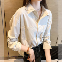 shirt White light card S M L XL Spring 2021 other 96% and above Long sleeves commute Regular Polo collar Single row multi button routine Solid color 18-24 years old Straight cylinder Dorothy Korean version WXLP61022 Pocket button Other 100% Pure e-commerce (online only)