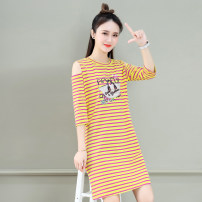 T-shirt Red White Stripe Black Yellow Stripe red yellow stripe blue green stripe M L XL 2XL Summer 2021 three quarter sleeve Crew neck easy Medium length routine commute cotton 86% (inclusive) -95% (inclusive) 25-29 years old Korean version youth Tamanyan tmy-ssx-2170 Print stitching