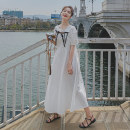 Dress Summer 2021 white S M L XL Mid length dress singleton  Short sleeve commute Crew neck High waist Solid color Socket A-line skirt puff sleeve Others 18-24 years old Type A Korean version More than 95% other Other 100%