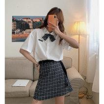 skirt Summer 2021 S,M,L Short skirt Sweet High waist A-line skirt lattice Type A 18-24 years old 51% (inclusive) - 70% (inclusive) Cyan.rose/green rose polyester fiber college