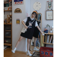 Dress Spring 2021 Black sleeveless dress, white sleeveless dress, black fake two-piece dress S,M,L Mid length dress singleton  Sleeveless Sweet stand collar Cartoon animation zipper A-line skirt routine Others 18-24 years old Type A L9388-L9458 More than 95% other cotton college