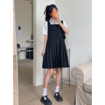Dress Summer 2021 black S,M,L Mid length dress singleton  Sleeveless Sweet square neck High waist Solid color A-line skirt Others 18-24 years old Type A Cyan.rose/green rose L3608 More than 95% other polyester fiber college