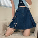 skirt Summer 2021 S,M,L Denim blue Short skirt Sweet High waist A-line skirt Solid color Type A 18-24 years old L3627 More than 95% Denim Cyan.rose/green rose Viscose college