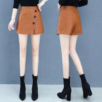 Casual pants Apricot Caramel black XS S M L XL 2XL Winter 2020 shorts Wide leg pants High waist commute routine P2078-0908 Handucat / handu cat PU leather Korean version Button Viscose 85.1% polyester 14.9% Pu Pure e-commerce (online only)
