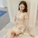 Dress Summer 2021 Apricot S M L XL 2XL Mid length dress singleton  Short sleeve commute Crew neck High waist Solid color Socket other routine Others 25-29 years old Type A Korean version Lace More than 95% other other Other 100% Pure e-commerce (online only)