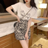 Fashion suit Summer 2020 S M L XL White T-shirt + leopard skirt black T-shirt + leopard skirt 18-25 years old Yunfeina G8813 81% (inclusive) - 90% (inclusive) Polyester 100% Pure e-commerce (online only)