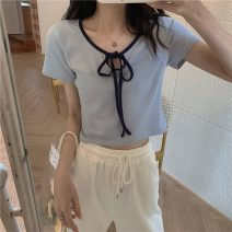Wool knitwear Summer 2021 Average size Dark grey, blue, yellow, pink Short sleeve singleton  Socket other More than 95% have cash less than that is registered in the accounts routine commute Self cultivation routine Color matching Socket Korean version DY69051 18-24 years old