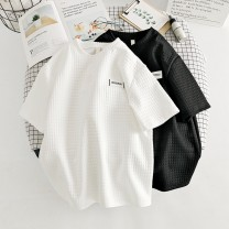 T-shirt White black M L XL XXL Summer 2020 Short sleeve Crew neck easy Regular routine commute cotton 96% and above 18-24 years old Korean version originality lattice Wozirou WZR20203541 Sticking cloth Cotton 100% Pure e-commerce (online only)