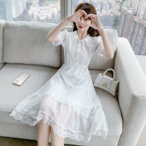Dress Summer 2021 white S,M,L,XL Mid length dress singleton  Short sleeve commute Polo collar High waist Solid color Socket A-line skirt routine Others 25-29 years old Type A Other / other lady Ruffles, hollows, lace 71% (inclusive) - 80% (inclusive) Lace polyester fiber