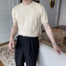T-shirt / sweater Handsome guest Fashion City Apricot white black M L XL 2XL 3XL Thin money Socket Crew neck Short sleeve summer Slim fit 2021 Other 100% leisure time tide youth routine Solid color Summer 2021 Fine wool (16 and 14 stitches) jacquard weave