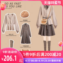 Dress Autumn 2020 S M L XL Short skirt Two piece set Long sleeves commute Polo collar High waist lattice Single breasted A-line skirt bishop sleeve Others 25-29 years old Type A Oenothera Korean version 31% (inclusive) - 50% (inclusive) acrylic fibres Pure e-commerce (online only)