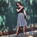 skirt Spring 2021 S,M,L,XL Black and white Mid length dress Retro High waist Pleated skirt lattice Type A 25-29 years old Plaid skirt More than 95% cotton Button