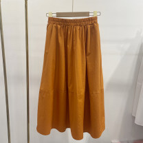 skirt Summer 2021 M, L Orange, dark blue, black, white Mid length dress Versatile Pleated skirt Solid color other other
