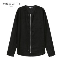Jacket Me&City Fashion City It's black 165/88A 170/92A 175/96A 180/100A 185/104B routine Self cultivation Home summer Flax 100% Long sleeves Wear out Business Casual youth Summer of 2018 Same model in shopping mall (sold online and offline)