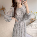 Dress Autumn 2020 Picture color S,M,L,XL Mid length dress singleton  Long sleeves commute Crew neck High waist Broken flowers zipper Big swing routine Others 25-29 years old Type A Korean version Bow tie Chiffon