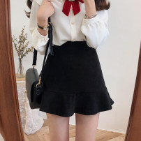 skirt Winter of 2019 S,M,L,XL black Short skirt commute High waist Ruffle Skirt Solid color Type A 18-24 years old Other / other Lotus leaf edge Korean version