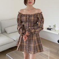 Dress Winter 2020 Picture color S,M,L,XL Middle-skirt singleton  Long sleeves commute One word collar High waist lattice zipper A-line skirt pagoda sleeve Others 18-24 years old Type A Korean version cotton