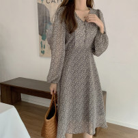 Dress Autumn 2020 black S,M,L,XL Middle-skirt singleton  Long sleeves commute V-neck High waist Broken flowers zipper A-line skirt other Others 25-29 years old Type A Korean version Bow, tie, print Chiffon