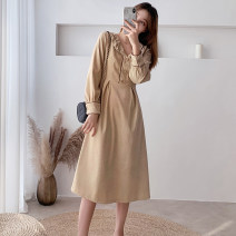 Dress Spring 2020 Apricot, black S,M,L,XL Mid length dress singleton  Long sleeves commute Admiral High waist Solid color zipper A-line skirt shirt sleeve Others Type A Other / other Korean version