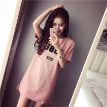 T-shirt polyester fiber 86% (inclusive) - 95% (inclusive) Summer 2020 Short sleeve Medium and long term routine Crew neck easy commute 1986 Korean version Jierdoor / product 18-24 years old originality letter Polyester 95% polyurethane elastic fiber (spandex) 5% Pure e-commerce (online sales only)