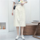 skirt Summer 2021 M, L White, light Khaki Mid length dress Solid color 31% (inclusive) - 50% (inclusive) Sennag cotton