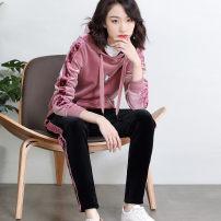 Sports suit Rose pink, haze blue Z9D3135DB Free breath female M,L,XL,2XL Long sleeves Hood trousers Socket Winter of 2019 Sports & Leisure Sports life