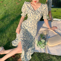Dress Spring 2021 Picture color S M L XL longuette singleton  Short sleeve commute V-neck High waist Broken flowers Socket A-line skirt routine Others 18-24 years old Type A Tingbao Butterfly lady printing More than 95% Chiffon polyester fiber Polyester 100%