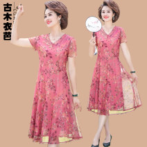 Middle aged and old women's wear Summer 2020 Pink Green XL XXL XXXL 4XL 5XL fashion Dress easy singleton  Decor 40-49 years old Socket thin V-neck Medium length routine GMYB203M302 Ancient wooden clothes Gauze polyester Polyester 100% 96% and above Pure e-commerce (online only) longuette Chiffon