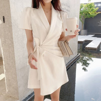 Dress Summer 2020 S M L XL Mid length dress singleton  Short sleeve commute V-neck High waist Solid color Socket A-line skirt routine Others 18-24 years old Type A Fayiqi Korean version More than 95% other other Other 100% Pure e-commerce (online only)